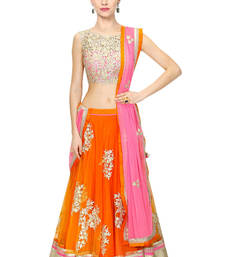 Buy orange net embroidered unstitched lehenga choli navratri-lehenga-chaniya-choli online