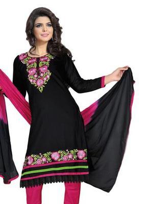 Salwar Studio Black & Pink Cotton unstitched churidar kameez with dupatta ES-9087