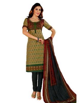 Salwar Studio Grey & Green Cotton unstitched churidar kameez with dupatta KO-4513