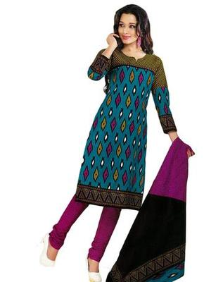 Salwar Studio Blue & Magenta Cotton unstitched churidar kameez with dupatta KO-4518
