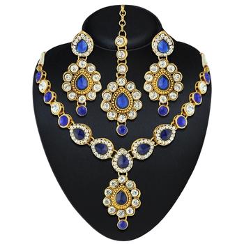 Blue Austrian Stone Gold Finishing Wedding Wear Necklace Set with Maang Tikka