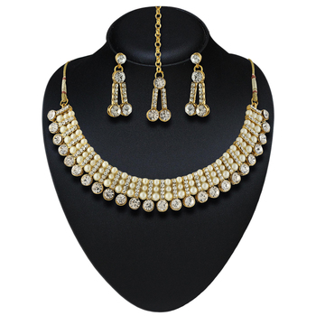 Austrian Stone with Pearl Gold Finishing Party Wear Necklace Set with Maang Tikka