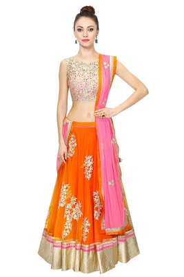 Orange embroidered net unstitched ghagra choli