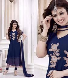 Buy Blue georgette embroidered semi stitched salwar with dupatta ayesha-takia-salwar-kameez online