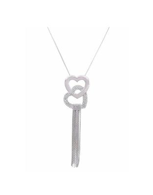 Silver plain cubic zirconia collar necklace