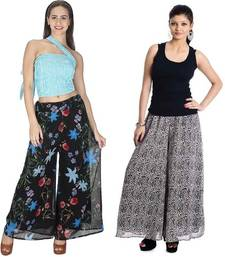 Buy Black and black and white colored palazzo combo palazzo-pant online