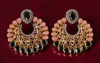 Pink & Black Filigree Earrings