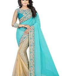 Buy Teal embroidered Coding Work chiffon saree with blouse ombre-saree online