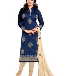 Buy blue chanderi embroidered semi stitiched salwar with dupatta black-friday-deal-sale online