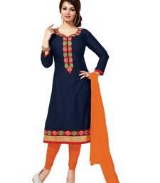 Buy Blue and orange embroidered cotton unstitched bollywood clothing ayesha-takia-salwar-kameez online
