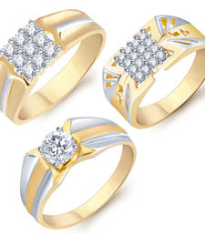 Buy Stylish gold and rhodium plated set of three ring combo for men jewellery-combo online