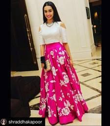 Buy pink embroidery art silk unstitched lehenga bollywood-lehenga online