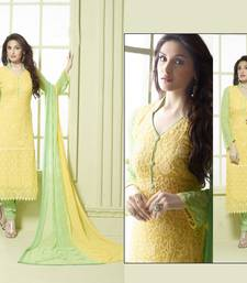 Buy yellow embroidred  semi stitched salwar with dupatta semi-stitched-salwar-suit online