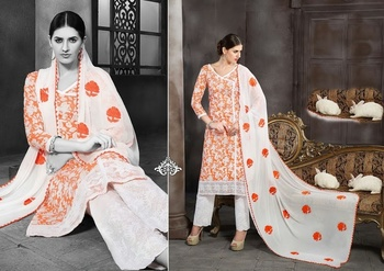 orange cotton fabric salwar suit