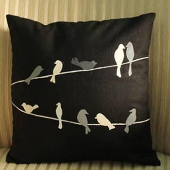 Birds on Strings Cushion Cover