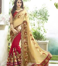 Buy beige embroidered georgette saree With Blouse black-friday-deal-sale online