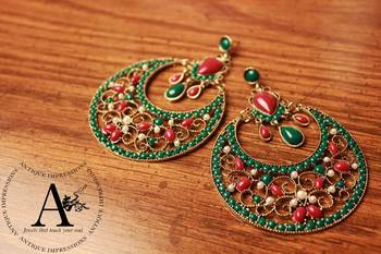 Ruby Emerald Round Earrings, Kundan Earrings designed by Antique Impressions