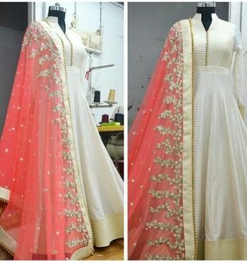 white embroidered dupion silk semi stitched salwar with dupatta