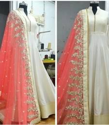 Buy white embroidered dupion silk semi stitched salwar with dupatta anarkali-salwar-kameez online