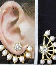 Buy White Pearl Flower Stone Ear - Cuff Earring stud online