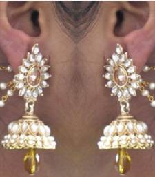 Buy Yellow Drop Jhumka With Pearl Ear Chain Earring fashion-deal online