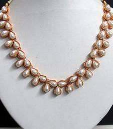 Buy Preety white pearl choker necklace set jhumka online