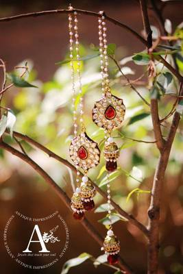 Kashmiri bells Kundan earrings RED color with pearls flower crystal kundan kashmiri jhumka earrings