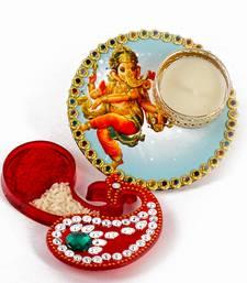 Buy Ganesha colorful printed diya with kumkum tikka container diwali-gift online