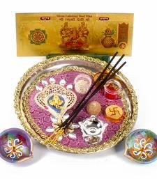 Buy Ganesha diwali thali and earthen diya with gold plated lakshmi note diwali-gift online