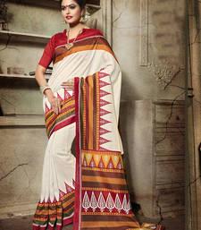 Buy Multicolor printed bhagalpuri silk saree with blouse bengali-saree online