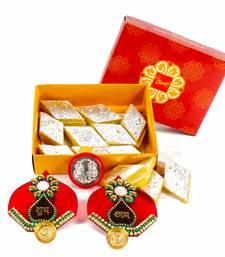 Buy Designer shubh labh with kesar kaju katli and silver plated coin diwali-gift online