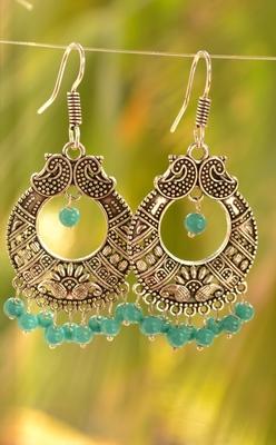 Trendy oxisidised silver jhumka earrings