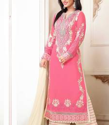 Buy Styles Closet Pink Georgette semi stitiched salwar with dupatta black-friday-deal-sale online