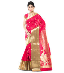 Buy Pink woven art silk saree with blouse women-ethnic-wear online