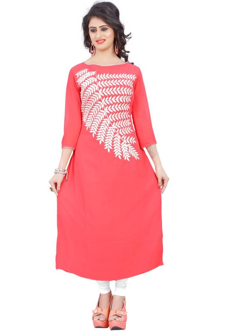 Buy Pink Embroidered Georgette Long Kurtis Online