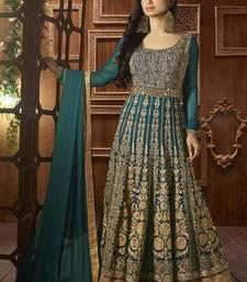 Buy Dark green embroidered georgette semi stitched salwar with dupatta diwali-salwar-kameez online
