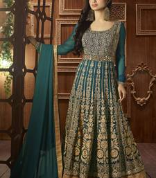 Buy Dark green embroidered georgette salwar bollywood-salwar-kameez-online online