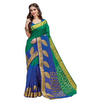 Green plain tussar silk saree with blouse