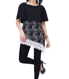 Buy Black printed crepe tops top online