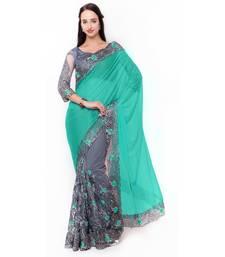 Buy Grey embroidered art silk saree with blouse art-silk-saree online