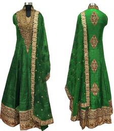 Buy Green embroidered cotton silk semi stitched anarkali salwar suit with dupatta. black-friday-deal-sale online