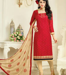 Buy Maroon embroidered cotton silk salwar with dupatta ethnic-suit online