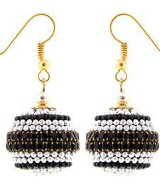 Buy Handmade Paper Quilling Black N Silver Ball Jhumki jhumka online