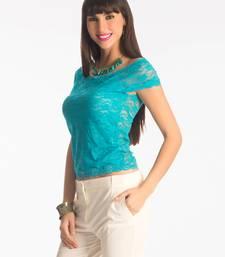 Buy Scuba blue lace bodycon top party-top online