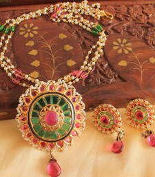 Buy UNIQUE 1 GRAM GOLD DESIGN REPLICA RUBY-EMERALD NECKLACE SET-DJ05765 south-indian-jewellery online