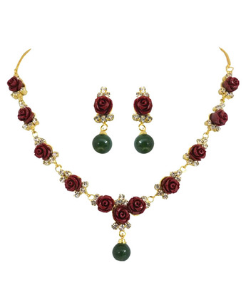 Red Rose Coral Necklace Set