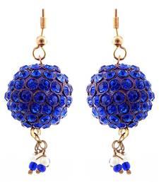 Buy Handmade Blue Lac Ball Jhumka Set hoop online