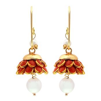 Royal Jaipuri Traditional Orange n Golden Brass Earrings