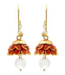Buy Royal Jaipuri Traditional Orange n Golden Brass Earrings hoop online