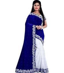 Buy Blue embroidred velvet saree with blouse velvet-saree online